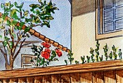 Sketchbook Painting Prints - Fence And Roses Sketchbook Project Down My Street Print by Irina Sztukowski