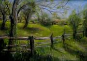 Rural Indiana Pastels Framed Prints - Fence Line Framed Print by Wendie Thompson