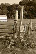 Farm Scenes Posters - Fence Post Poster by Jennifer Lyon