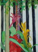 Meanings Originals - Fenced In Bromeliads by Susan Burns