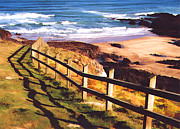 Sand Dunes Paintings - Fencing the Ocean Dunes by Elaine Plesser