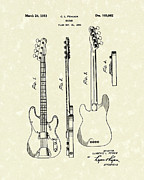 Patent Artwork Drawings Metal Prints - Fender Bass Guitar 1953 Patent Art  Metal Print by Prior Art Design