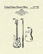 Music Drawings Prints - Fender Bass Guitar 1960 Patent Art Print by Prior Art Design
