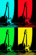 Bass Digital Art Prints - Fender Bass Guitar Print by Alice Martin