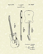 Patent Artwork Drawings Metal Prints - Fender Guitar 1951 Patent Art Metal Print by Prior Art Design