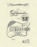 Patent Art Drawings Framed Prints - Fender Guitar 1966 Patent Art Framed Print by Prior Art Design