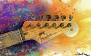 Watercolor Metal Prints - Fender Head Metal Print by Andrew King