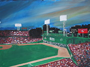 Fenway Park Painting Metal Prints - Fenway Night Metal Print by Leo Artist