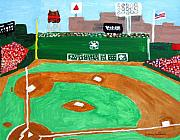 Baseball Paintings - Fenway Park by Jeff Caturano