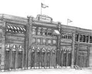 Boston Sports Parks Drawings - Fenway Park by Juliana Dube