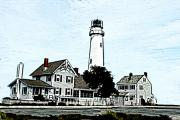 Chimneys Digital Art Posters - Fenwick Island Light House Poster by Crystal Garner