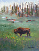 Park Scene Paintings - Ferdinand Yellowstone NP by Karin  Leonard