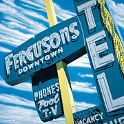 Signage Paintings - Fergusons Motel Las Vegas by Anthony Ross