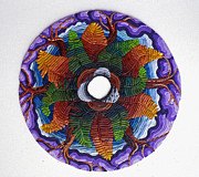Spiritual Art Reliefs - Ferns and Purple Trees by Arla Patch