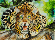 Jaguars Paintings - Ferocious  by Sydney Zmitrewicz