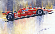 Sports Paintings - Ferrari 126 CK Gilles Villeneueve Spanish GP 1981 by Yuriy  Shevchuk
