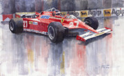 Racing Painting Framed Prints - Ferrari 126C 1981 Monte Carlo GP Gilles Villeneuve Framed Print by Yuriy  Shevchuk