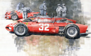 Automotiv Framed Prints - Ferrari 156 Italian GP 1961 Framed Print by Yuriy  Shevchuk