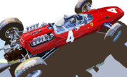 Cars Prints - Ferrari 158 F1 1965 Dutch GP Lorenzo Bondini Print by Yuriy  Shevchuk