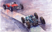 D Painting Prints - Ferrari 158 vs Brabham Climax German GP 1964 Print by Yuriy  Shevchuk