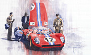 Automotive Paintings - Ferrari 206 SP Dino 1966 Nurburgring Pit Stop by Yuriy  Shevchuk