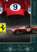 Indy Car Framed Prints - Ferrari 250 TR 1958 Layout Framed Print by Curt Johnson