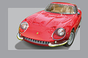 Italian Cars Digital Art Framed Prints - Ferrari 275 GTB 4 Framed Print by Alain Jamar