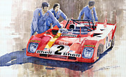 Sports Paintings - Ferrari 312 PB 1972 Daytona 6-hour winning by Yuriy  Shevchuk