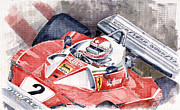 Clay Posters - Ferrari 312 T 1976 Clay Regazzoni Poster by Yuriy  Shevchuk