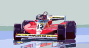 Red Digital Art Posters - Ferrari 312 T3 1978 canadian GP Poster by Yuriy  Shevchuk
