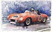 Old Paintings - Ferrari 500 Mondial by Yuriy  Shevchuk