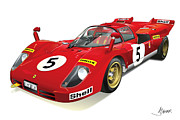 Automotive Illustration Framed Prints - Ferrari 512 Framed Print by Alain Jamar