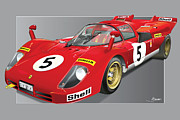 Mario Digital Art - Ferrari 512  S by Alain Jamar