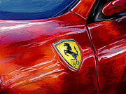Sports Digital Art Metal Prints - Ferrari Badge Metal Print by David Kyte