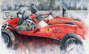 Sport Painting Framed Prints - Ferrari Dino 246 F1 1958 Mike Hawthorn French GP  Framed Print by Yuriy  Shevchuk