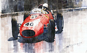 Sports Paintings - Ferrari Dino 246 F1 Monaco GP 1958 Wolfgang von Trips by Yuriy  Shevchuk