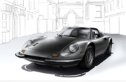 Sportscar Paintings - Ferrari Dino 246 GT by Carart Matthew