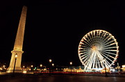 Amusement Park Ride Framed Prints - Ferris Wheel and Luxor Obelisk in the Concorde Plaza in Paris Framed Print by Sami Sarkis