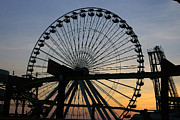 Amusements Posters - Ferris Wheel at Dusk Poster by Kathy Dahmen