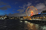 Skylines Pyrography Posters - ferris wheel at night in Sydney Harbour Poster by Jacques Van Niekerk