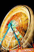 Amusement Rides Posters - Ferris Wheel at Night Poster by Paul Velgos
