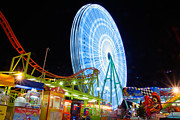 Amusement Ride Framed Prints - Ferris wheel at night Framed Print by Stylianos Kleanthous