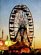 Carnivals Posters - Ferris Wheel at Night Poster by Susan Savad