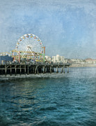 Monica Framed Prints - Ferris Wheel on the Santa Monica Pier Framed Print by Jill Battaglia