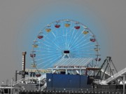 Santa Monica Digital Art Metal Prints - Ferris Wheel Santa Monica Metal Print by Jodi Turchin