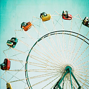 Fairgrounds Framed Prints - Ferris Wheel Square Framed Print by Kim Fearheiley