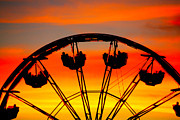 Ferris Wheels Posters - Ferris Wheel Sunset Poster by Cheryl Young
