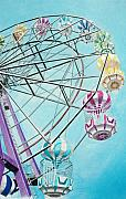 Wheel Drawings Prints - Ferris Wheel View Print by Glenda Zuckerman