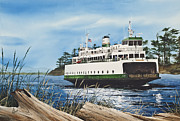 Pacific Northwest Ferry Framed Print Paintings - Ferry ILLAHEE by James Williamson