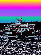 Seattle Digital Art Prints - Ferry on Elliott Bay 4 Print by Tim Allen